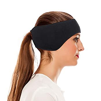 Omenex Winter Headbands Ear Warmers for Women-Double Layer More Thicker Fleece Earband Winter Ear Warmer in Cold Weather Running,Ski,Jogging and Others Winter Sports/Works  Ponytail Black