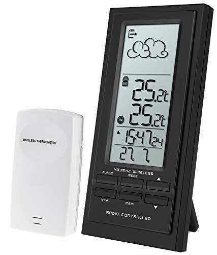 Krippl-Watches Digitale Funkwetterstation/Funkuhr mit Wecker, Temperatur/Farbe:schwarz