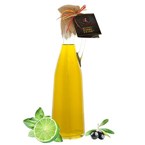 Limettenöl, natürliches Limetten - Öl aus Nativem, Extra Vergin Olivenöl, Griechenland. Ungefiltert. Kaltgepresst. Traditionelle Herstellung im Familienbetrieb. AMPHORE ROMANA - Flasche 750ml.