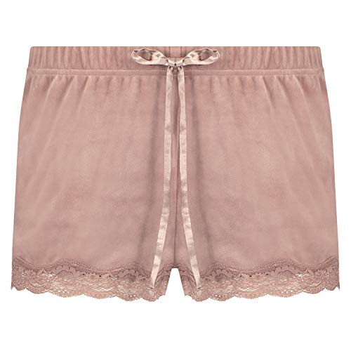 HUNKEMÖLLER Luxuriöse Damen-Shorts aus Velours, mit Jakobsmuschel-Optik und Spitze Rose M