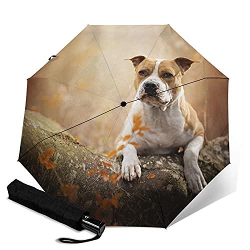 動物 犬 テリア印刷自動三つ折り傘傘防風トラベル傘コンパクト折りたたみ傘
