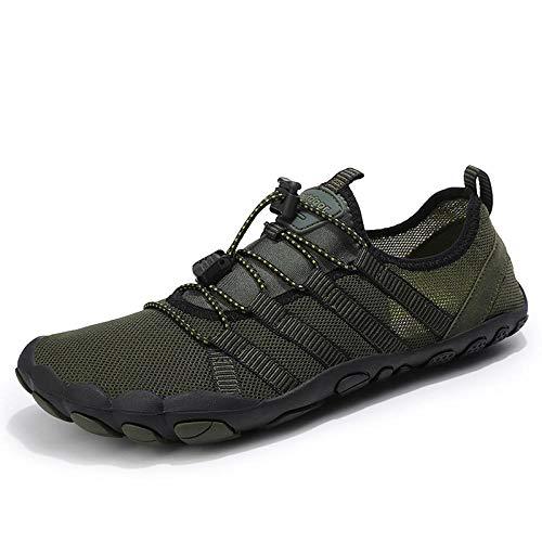 Aerlan Zapatos de Snorkel para Nadar,Suela de Goma Zapatos de Agua,Zapatos de natación de Malla Zapatos Antideslizantes al Aire Libre río Arriba Pareja-Army Green_47