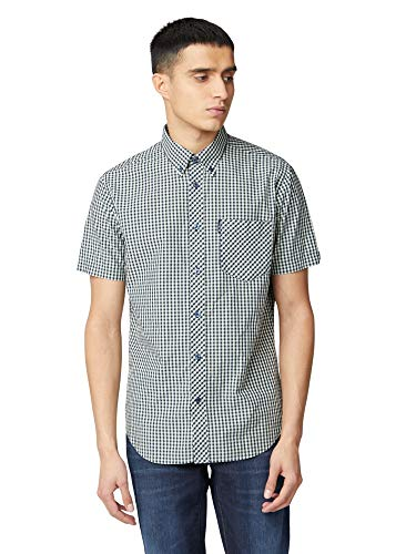 Ben Sherman Herren Freizeithemden 'Gingham Shirt' Button-Down-Kragen Kurzarm (Light Green) L