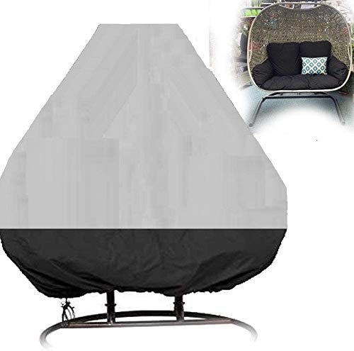 Patio Hanging Egg Chair Cover Double 420D Waterproof Swing Chair Cover Veranda Patio Cocoon Egg Chair Garden Furniture Cover with Drawstring (Grey and Black)