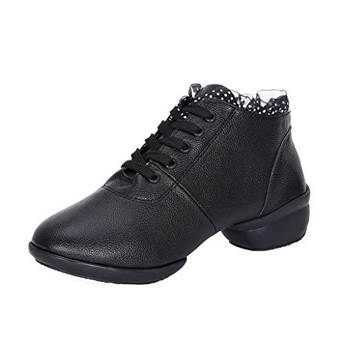 H.eternal(TM) Zapatos de baile para primavera y otoño, cómodos, transpirables, antideslizantes, botines laterales, correas traseras y puntera abierta, color Negro, talla 40.5 EU