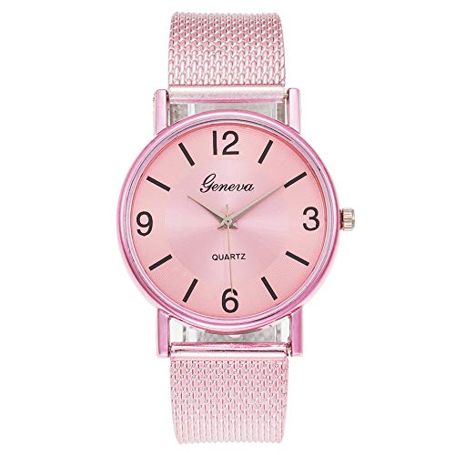 QiKun-Home Moda Correa de Red Suave Reloj electrónico Digital Simple Reloj de Hombre y Mujer Reloj de Cuarzo Informal Reloj de Pareja Rosa