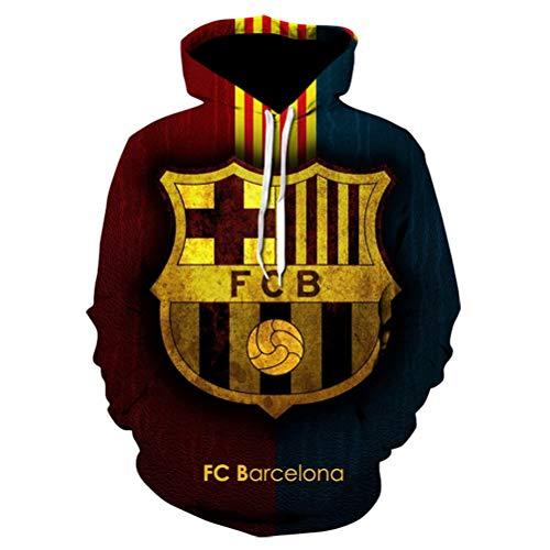 NMSL Sudaderas con Capucha de la Novedad de los Hombres Sudadera Casual con Estampado 3D Realista del FC Barcelona con Bolsillos,2XL