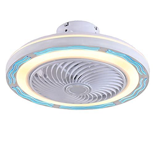Ventilador de techo con iluminación, Ventilador de techo LED moderno y silencioso, invisible, Control remoto Sala de estar creativa Habitación para niños Ventilador de comedor Luz de techo(Color:B)