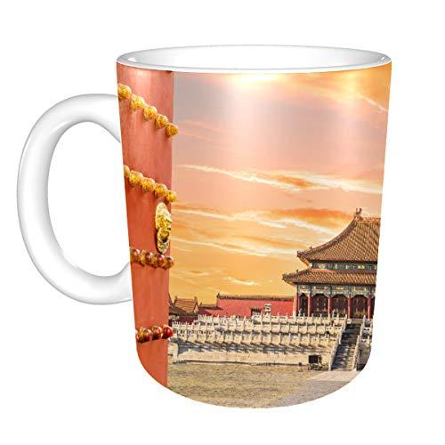 Tasse de voyage à café Anciens palais royaux de la cité interdite dans des tasses Bei Tasse à café Jolie tasse à café en céramique 11 onces pour hommes femmes Cadeaux idéaux pour le petit-déjeuner au