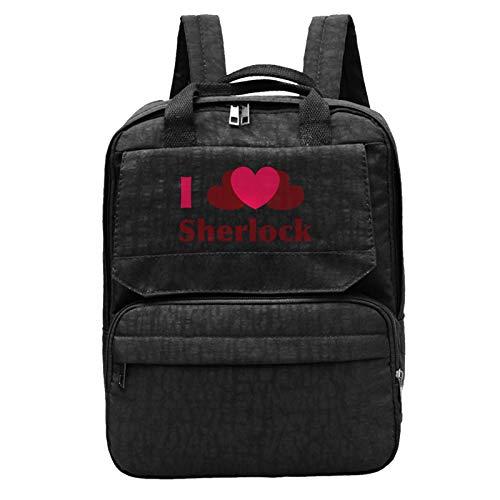 I Heart Sherlock Mochila para portátil de 12 pulgadas y tableta, mochila de viaje a la moda