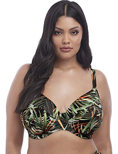 Elomi Plus Size Amazonia Tropical Plunge Bikini Top, 40GG, Khaki Green