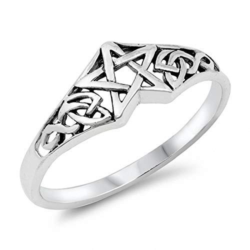 Blue Apple Co. Celtic Pentagram Band Star Ring Solid 925 Sterling Silver, Size-7
