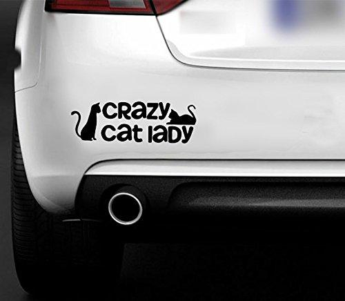 MR WHEEL TRIMS Adesivo Divertente per Auto, Furgone, Barca, Motivo: Crazy Cat Lady [Lingua Inglese]