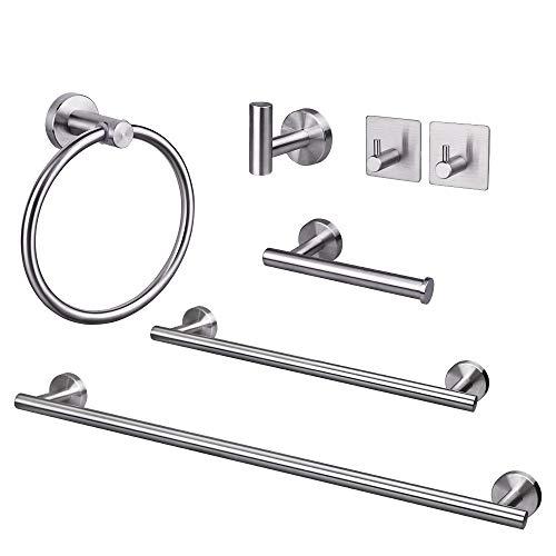 TocTen 7-Pieces Bathroom Hardware Set-SUS304 Stainless Steel, Towel Bar Set Include 24'' Towel Bar+16'' Towel Holder+Towel Ring+Toilet Paper Holder+3-Robe Hook Bathroom Towel Rack Set (Brushed Nickel)