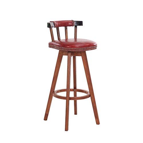 KAI LE Bar stoel - massief hout rugleuning stoel PU hoge elastische spons pad, bodem anti-slip mat, eenvoudige retro hoge kruk, Restaurant Bar Cafe