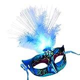 Iusun Masquerade Mask, LED Fiber Mardi Gras Mask Venetian Fancy Party Princess Feather Masks Women's Costume Masks - Ship from USA (Blue)