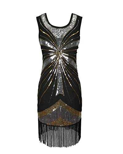 1920er Jahre große Gatsby Flappers Stil Pailletten Quaste Frauen Charleston Tanzkleid Downton Damen 20er Jahre Kostüm Silber Schwarz Größe 32/34 (Silber, EU 32-34)