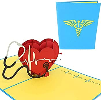 PopLife Healthcare Heart 3D Pop Up Card For Doctors Nurses EMTs Essential Medical Staff - Hospital Thank You Note - Pop Up Valentines Card - Anniversary Pop Up Mother s Day Card Happy Birthday