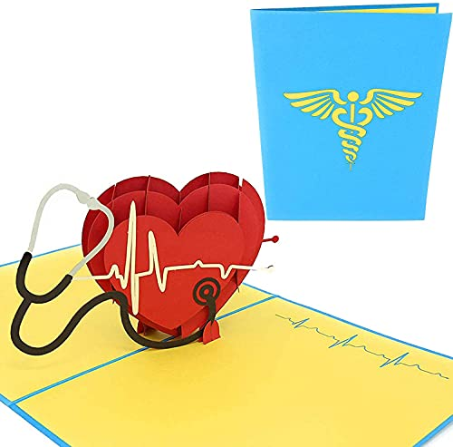 PopLife Healthcare Heart 3D Pop Up Card, For Doctors, Nurses, EMTs, Essential Medical Staff - Hospital Thank You Note - Pop Up Valentines Card - Anniversary Pop Up Mothers Day Card, Happy Birthday