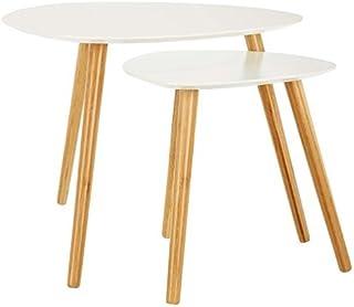 comprar comparacion LOMOS mesas de café Finja en Blanco Compuesto de 2 mesas auxiliares de Madera