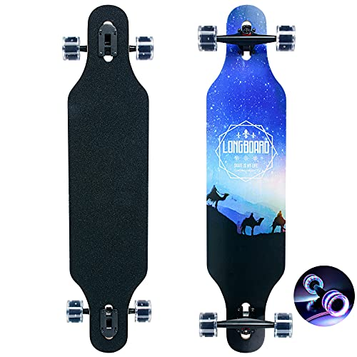 Longboard Skateboard,Drop Through Cruiser komplettes Board,8-lagigem Ahornholzmit High-Speed ABEC-11 Kugellagern und sowie PU-Blinkräder für Anfänger Erwachsene Jungen Mädchen Brush Street Dance Board
