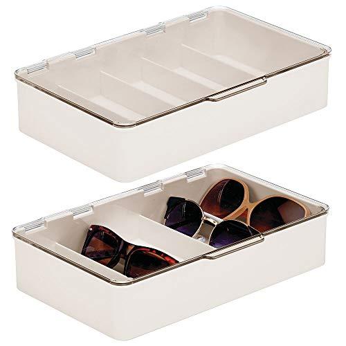mDesign 2er-Set Aufbewahrungsbox für Brillen – Brillenablage aus Kunststoff mit 5 Fächern – Brillenaufbewahrung für Brillen, Sonnenbrillen und Lesebrillen – cremefarben und durchsichtig