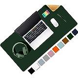 Aothia Schreibtischunterlage,umweltfreundliche Naturkork & PU-Leder doppelseitige 80x40cm Mauspad, wasserdicht PU-Leder Tischunterlage Schreibtischschutz für Büro/Heimspiele(Grün)