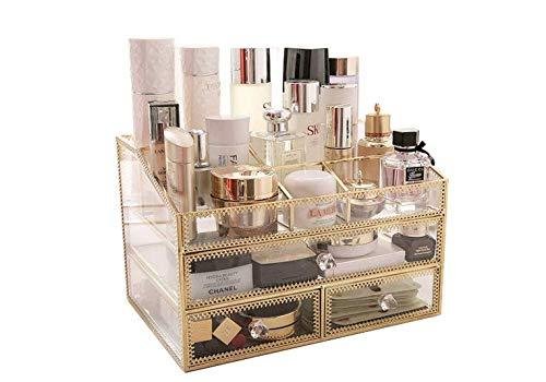 Cosmetische opbergdoos, cosmetische lade, transparant, sieradenvitrine, aanrechtblad, lippenstift, nagellak, haarclip, prachtig cadeau (glas) 30 x 20 x 20cm