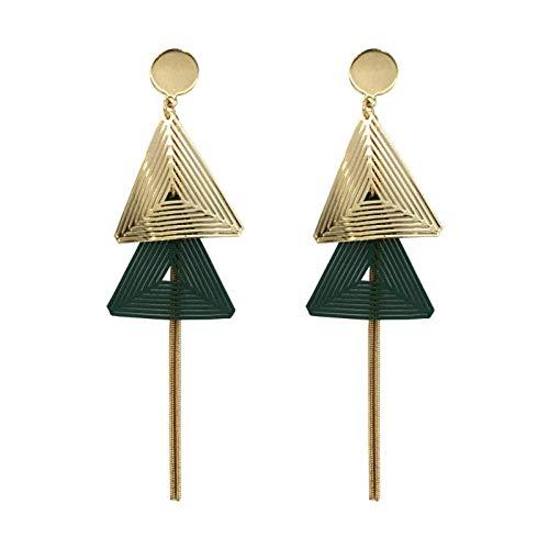 ZLININ Y-longhair - Pendientes largos de temperamento verde pendientes de moda muestran cara delgada, regalos