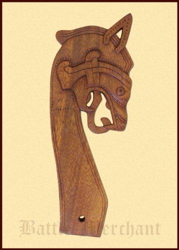 Battle-Merchant Drachenkopf aus Holz handgeschnitzt, nach rechts schauend Wikingerzelt Wandschmuck