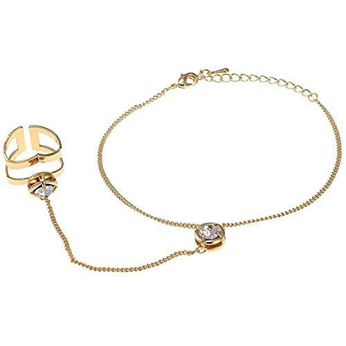 Pulsera de anillo para mujer, estilo punk, anillo hueco geométrico, anillo hueco (Color de metal: dorado)