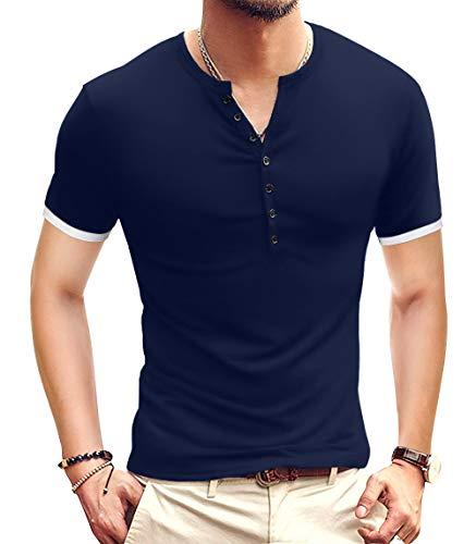 YTD Mens Casual Slim Fit Basic Henley Short Sleeve Fashion Summer T-Shirt M Navy