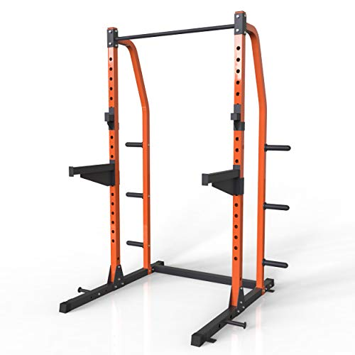 Merax Athletics Fitness Power Rack Olympic Squat Cage Home Gym with LAT Pull Attachment (Full Cage)