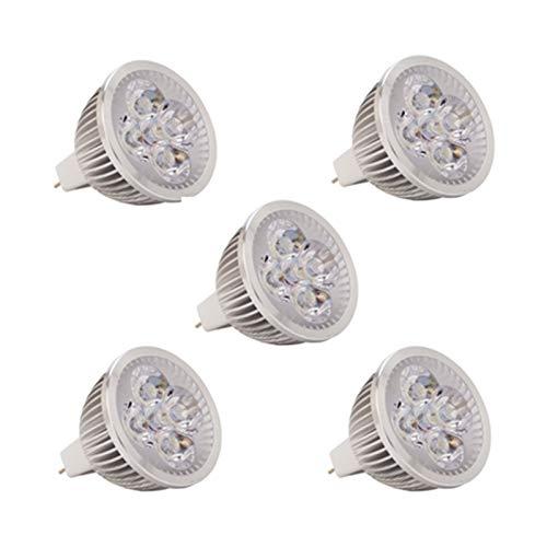 WELSUN MR16 LED Ampoules, 2 4V 36V AC/DC 4W, 350-40 0lm, 300 0K / 6000K, 60 ° Angle de Faisceau, équivalent halogène 30W [Classe d'énergie A +] 5pcs (Couleur : Blanc Froid, Edition : AC/DC36V)