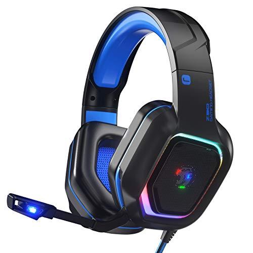 ZIUMIER Cuffie Gaming con Microfono e Bassi Stereo,Cancellazione del Rumore,per PS4 PS5 PC, Xbox One con Luce RGB e 3,5 mm Jack (blu)
