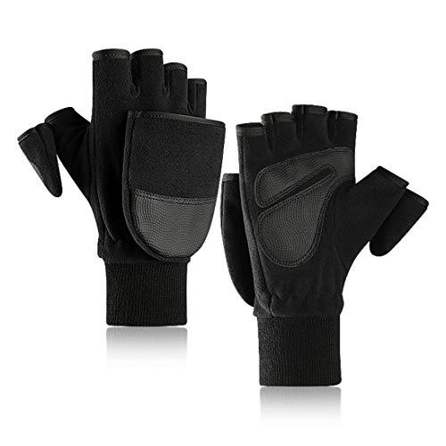 Zeagro Guantes de invierno sin dedos convertibles, guantes térmicos, calientes, guantes con tapa abatible para hombres, ciclismo, trabajo