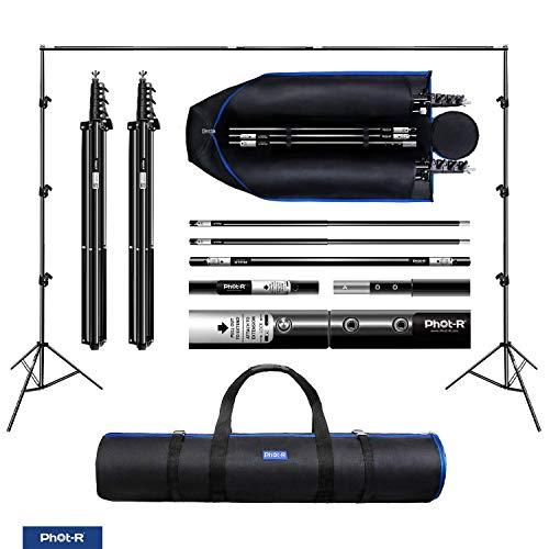 Phot-R 2x3m Studio Hintergrundstützungssystem Tragetasche, 2X 2m Ständer 1x 3m Querbalken verstellbares professionelles tragbares Fotografie-Set für Vliesstoff Leinwandhintergründe