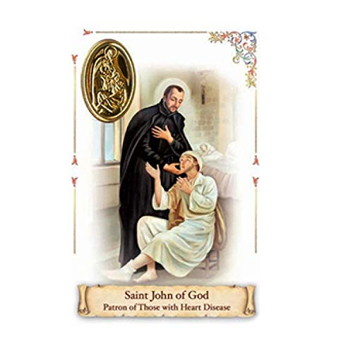 Saint John of God Patron of Those with Heart Disease Religious Prayer CardPrayer Card with Heat Sealed Medal