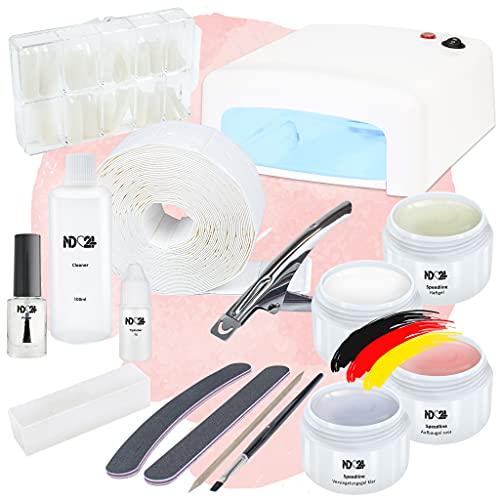 Nagelstudio Starter Set Basic für Gelnägel mit UV Lampe + Gel Made in Germany und allem Zubehör