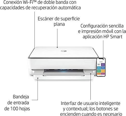 HP Envy 6020 + Tarjeta regalo €5 Amazon - Impresora multifunción tinta, color, Wi-Fi, Bluetooth 5.0, compatible con Instant Ink