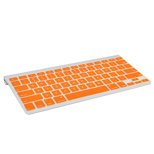 TOP CASE Silicone Cover Skin Compatible with Apple Wireless Keyboard with TOP CASE Mouse Pad (Apple Wireless Keyboard, Orange)