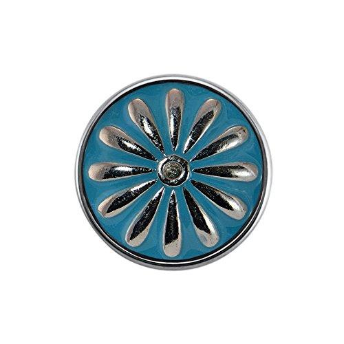 Quiges Damen Click Button 18mm Chunk Blume Blau für Druckknopf Zubehör
