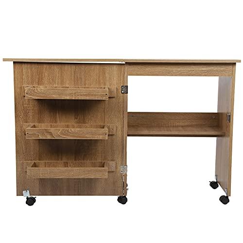 Mesa de costura plegable, carrito multifuncional para manualidades, escritorio de madera con estantes de almacenamiento, mesa para máquina de coser móvil, armario, escritorio para computadora con rued
