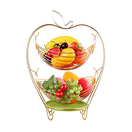 Fruitschaal Fruitmand Mand Creative Swing Opbergmand Double Layer Candy Plate RVS Fruitschaal Rack,Gold