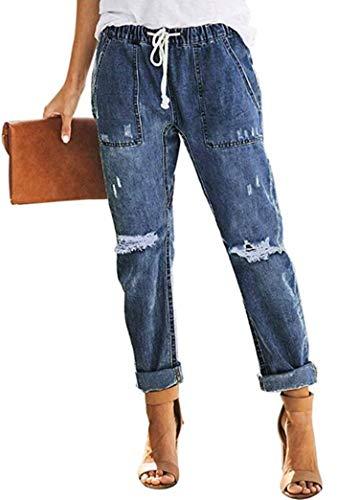 Sidefeel Women Distressed Pockets Denim Joggers Elastic Drawstring Waist Jeans Pants Medium Blue