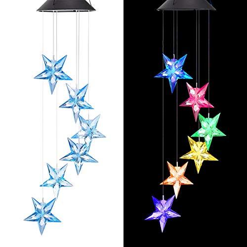 FungLam Luces del Campanas de Viento Solar Energía Wind Chime Light Cambio de Color LED Móvil al Aire Libre Impermeable de Luz para Techo Exteriores Jardín Patio (Estrella)