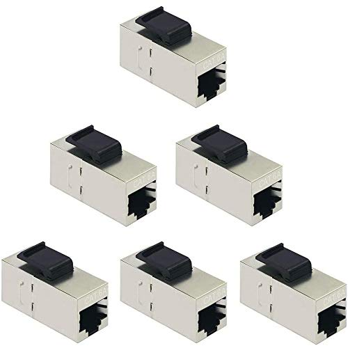 Greluma 6 Pezzi CAT6A Keystone Jacks, RJ45 Couplers Female to Female Straight Shielded in-Line Cat6A Cable Network Ethernet Module Silver