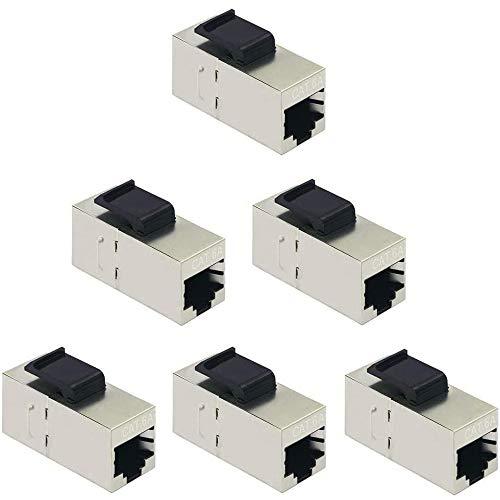Greluma 6 Piezas Conectores Keystone CAT6A, Acopladores RJ45 Hembra a Hembra Cable Cat6A en Línea Blindado Recto Módulo Ethernet de Red Plateado