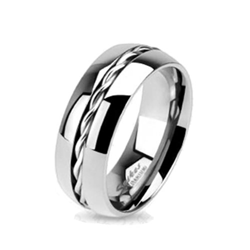 Paula & Fritz R-TM-3656 - Anello in titanio, con anello intrecciato, misura 47 (15) - 69 (22) e Titanio, 50 (15.9), cod. R-TM-3656-6