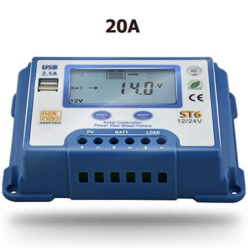 SolaMr 20A Solarladeregler 12V/24V Intelligenter Regler mit LCD-Display und doppeltem USB-Anschluss für Solarbatterien - ST6-20A